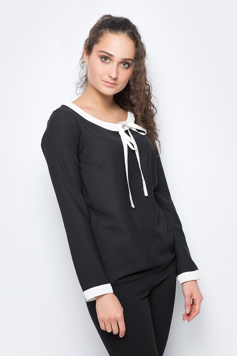 Блузка женская adL, цвет: черный. 11532292000_001. Размер M (44/46)11532292000_001Лаконичная блузка adL выполнена из полиэстера. Модель с длинными рукавами и круглым вырезом горловины дополнена контрастной отделкой по горловине и рукавам. В такой блузке вы будете выглядеть стильно и элегантно.