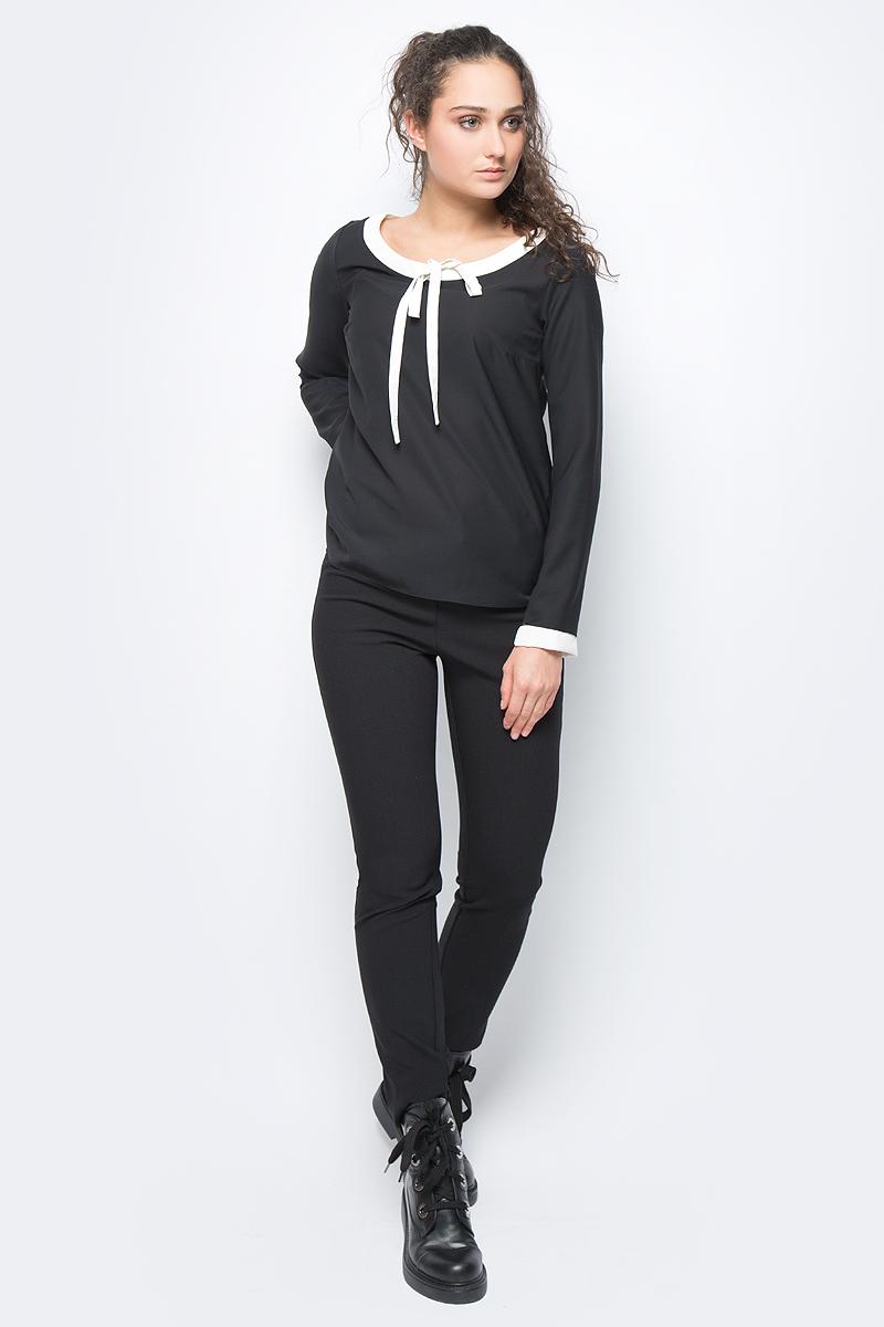 Блузка женская adL, цвет: черный. 11532292000_001. Размер XS (40/42)11532292000_001Лаконичная блузка adL выполнена из полиэстера. Модель с длинными рукавами и круглым вырезом горловины дополнена контрастной отделкой по горловине и рукавам. В такой блузке вы будете выглядеть стильно и элегантно.