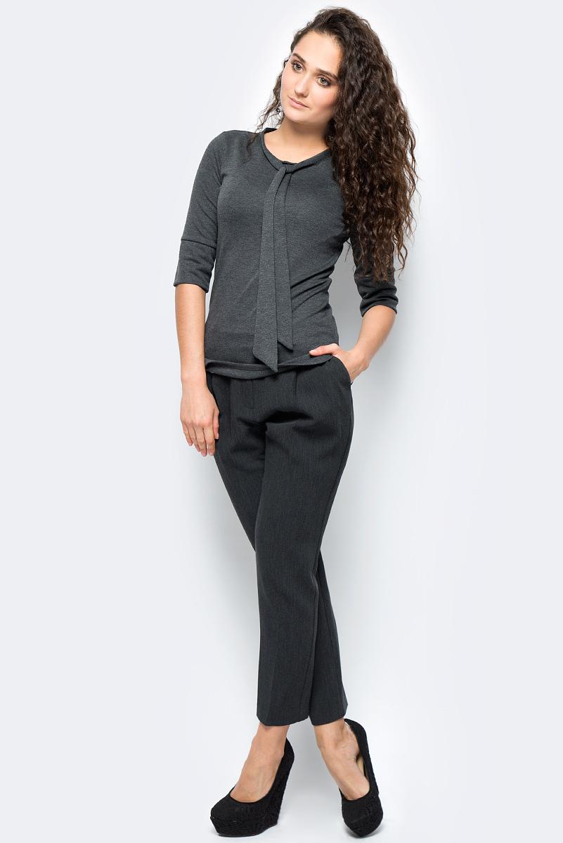 Блузка женская adL, цвет: темно-серый. 11533252000_014. Размер XS (40/42)11533252000_014Стильная блузка выполнена из комбинированного приятного материала. Модель с круглым вырезом горловины и рукавами ? отлично дополнит ваш образ.