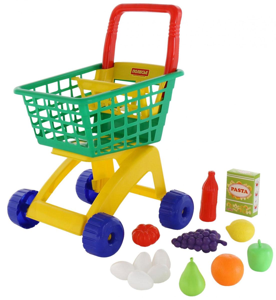 Полесье Игрушечная тележка для магазина с набором продуктов №8 цвет тележки зеленый
