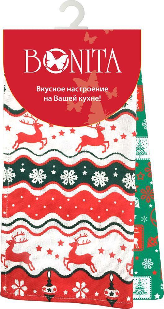 Набор полотенец Bonita Новогодний базар, 35 х 63 см, 2 шт. 11010817488 комплект из 2 х фартуков bonita дочки матери