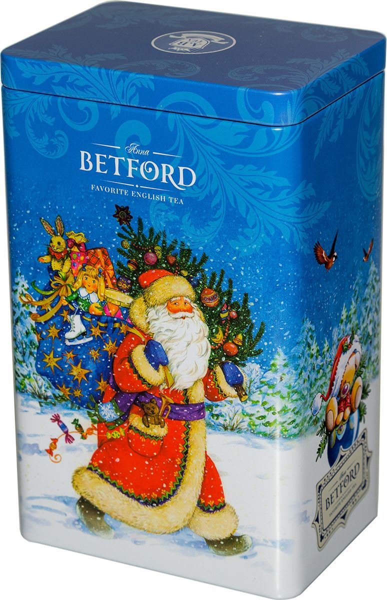 Betford Дед Мороз чай черный крупнолистовой, 100 г4612753840787Чай Два верхних листа чайного куста — самые нежные и сочные листья — собирают вручную, тщательно отбирают и купажируют в элитный цейлонский сорт особой скрутки листа Jumbo Pekoe. Этот сорт, соединив в себя самое лучшее — щедрость природы и заботу человека, — стал поистине элитным напитком.Всё о чае: сорта, факты, советы по выбору и употреблению. Статья OZON Гид