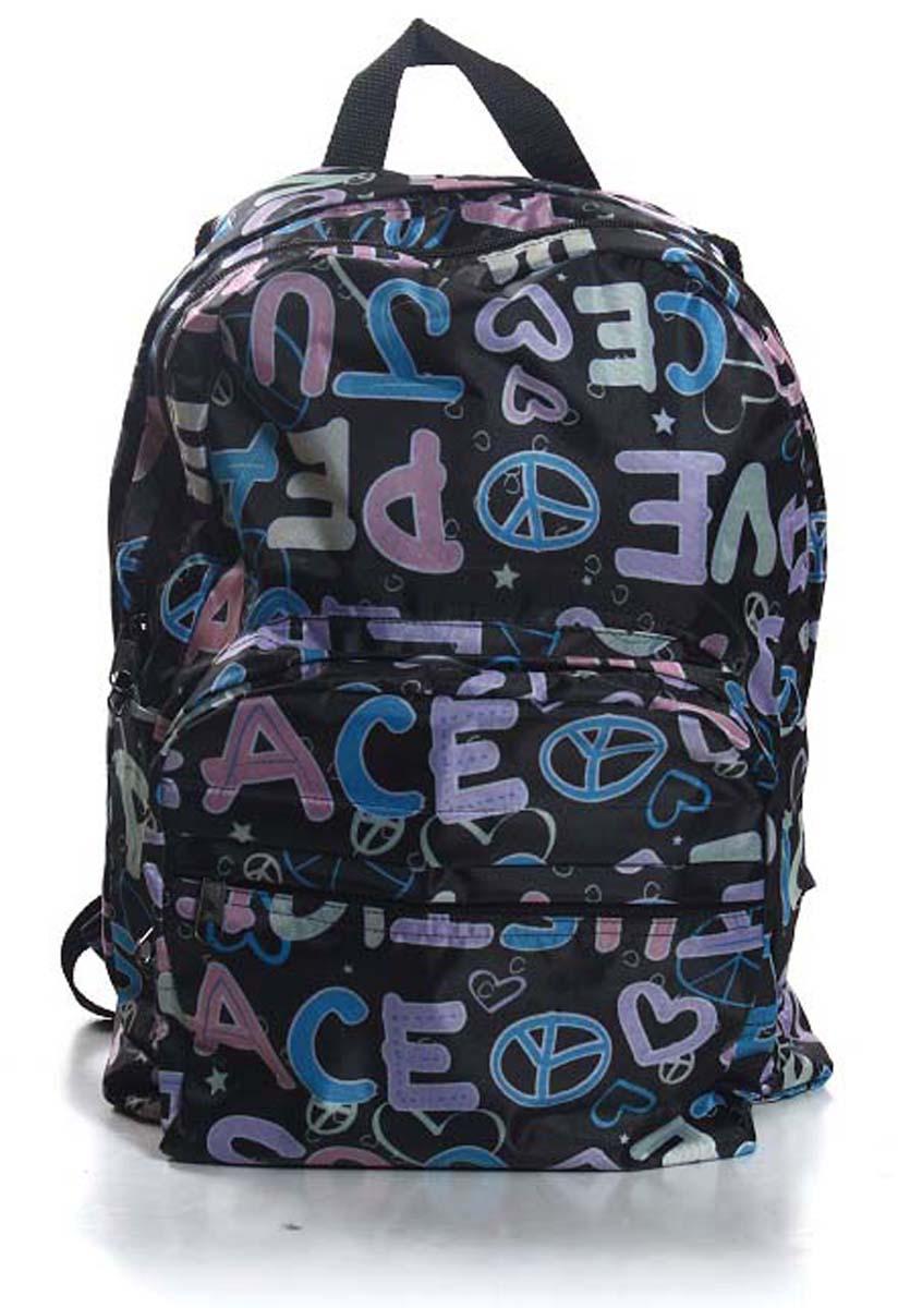 Рюкзак городской Ibag Love на черном, цвет: черный, 18 л182 love на черномЯркий и стильный рюкзак. Отличное решение для города. Рюкзак имеет два вместительных отделения и два наружных кармана на молнии.