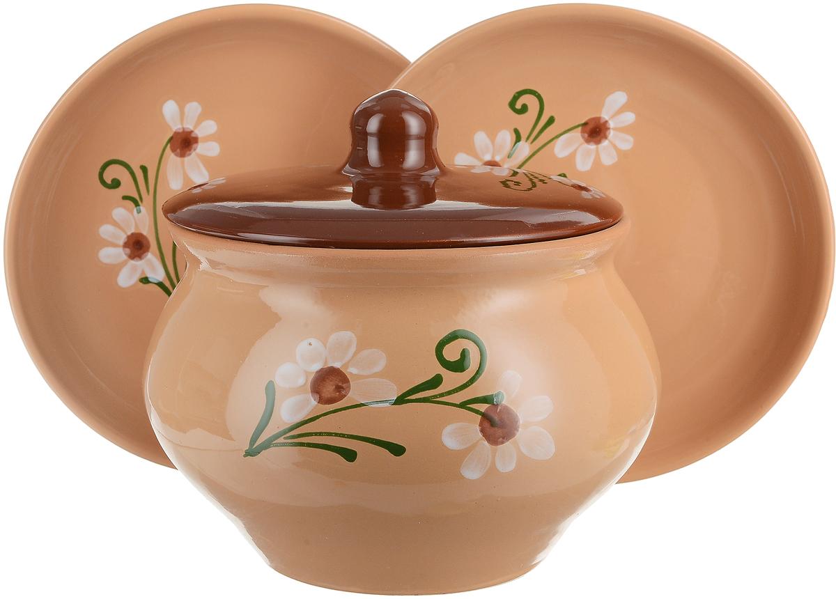 Набор столовой посуды Борисовская керамика Стандарт, 3 предмета. ОБЧ00000038 набор столовой посуды борисовская керамика на троих цвет синий белый 4 предмета