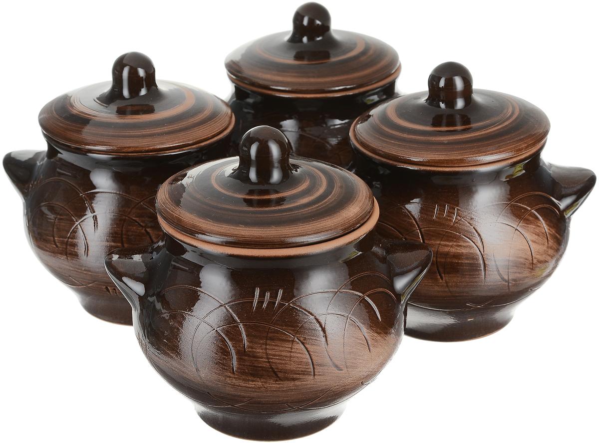 Набор горшочков для запекания Борисовская керамика Старина, 650 мл, 4 штСТР00000088Набор Борисовская керамика Старина состоит из4 горшочков для запекания с крышками. Горшочки скрышками выполнены из высококачественной керамики.Уникальные свойства красной глины и толстые стенкиизделия обеспечивают эффект русской печи приприготовлении блюд. Блюда, приготовленные вкерамическом горшке, получаются нежными и сочными. Вы сможете приготовить мясо, сделатьтомленые овощи и все это без капли масла. Это один из самых здоровых способов готовки.Можно использовать в духовке и микроволновой печи.