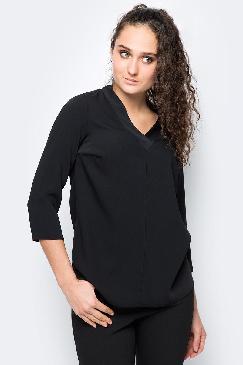 Блузка женская adL, цвет: черный. 11532121000_001. Размер S (42/44)11532121000_001Стильная блузка adL выполнена из полиэстера. Модель свободного кроя с рукавами длиной 3/4 и V-образным вырезом горловины. Благодаря лаконичному дизайну блузка будет прекрасно сочетаться как с юбками разных фасонов, так и с брюками или джинсами. В такой блузке вы будете выглядеть эффектно и не останетесь незамеченной.