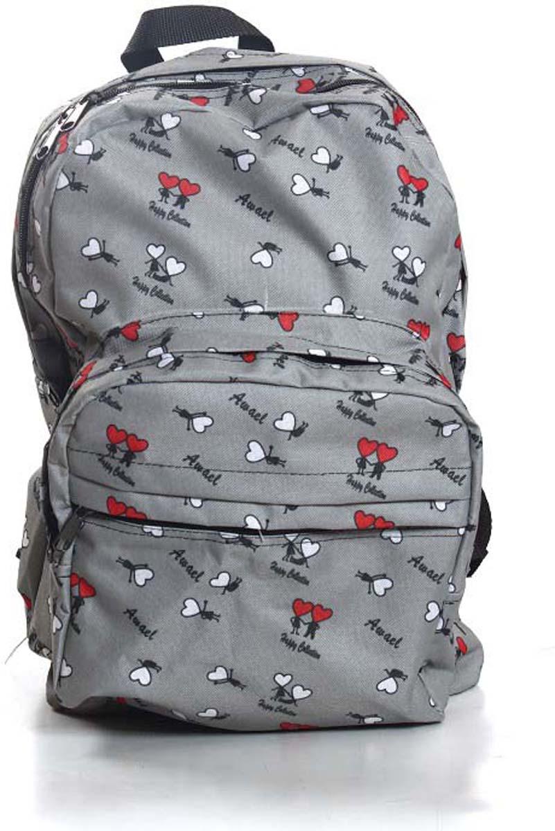 Рюкзак городской Ibag Сердечки бело-красные на сером, цвет: серый, 18 л182 сердечки бело-красные на серомЯркий и стильный рюкзак. Отличное решение для города. Рюкзак имеет два вместительных отделения и два наружных кармана на молнии.