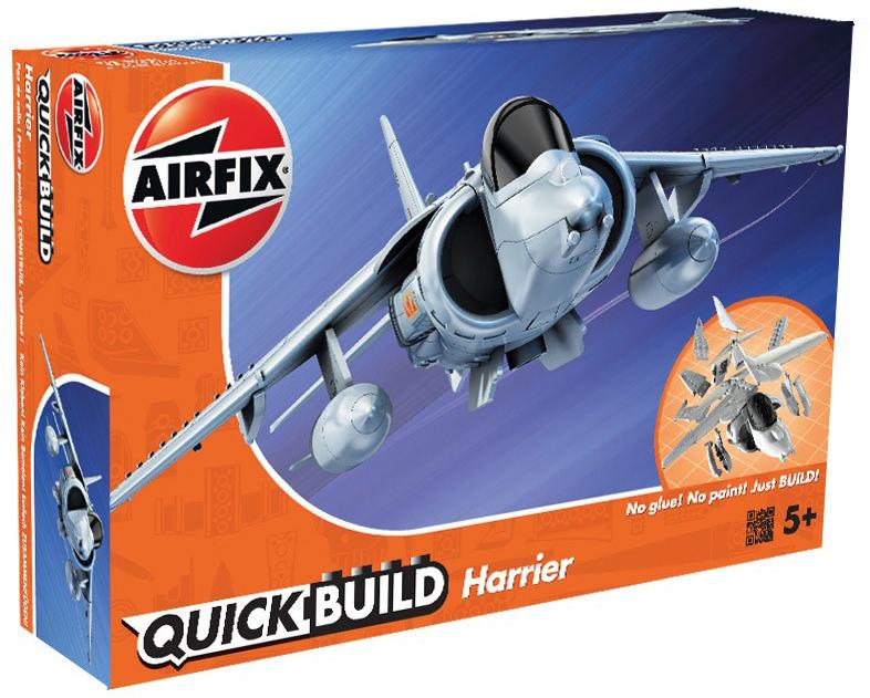 Airfix Конструктор QUICK BUILD Harrier сборная модель airfix британские квадроциклы с экипажем a04701