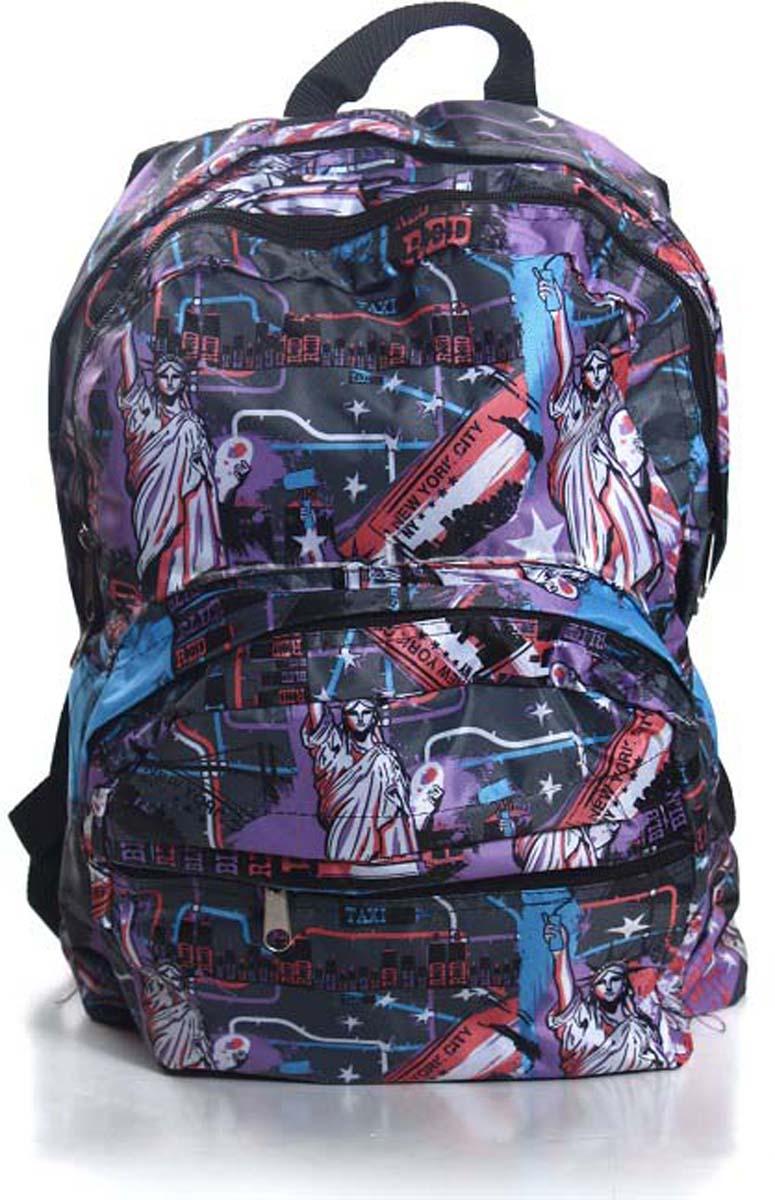 Рюкзак городской Статуя свободы, цвет: фиолетовый, 18 л182 статуя свободыЯркий и стильный рюкзак. Отличное решение для города. Рюкзак имеет два вместительных отделения и два наружных кармана на молнии.