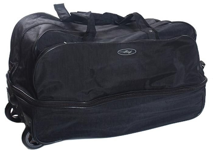 Сумка дорожная Ibag Черная жатка, на колесах, цвет: черный, 78-94 л