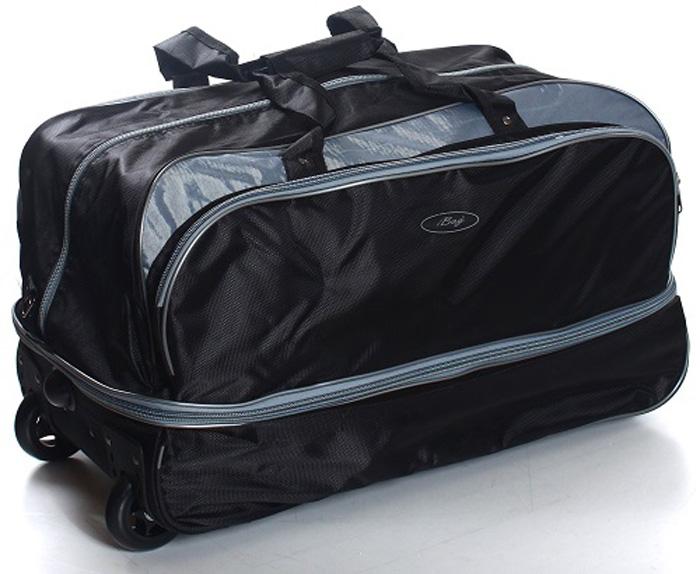 Сумка дорожная Ibag Черная Fantasia с серой вставкой, на колесах, цвет: черный, 78-94 л