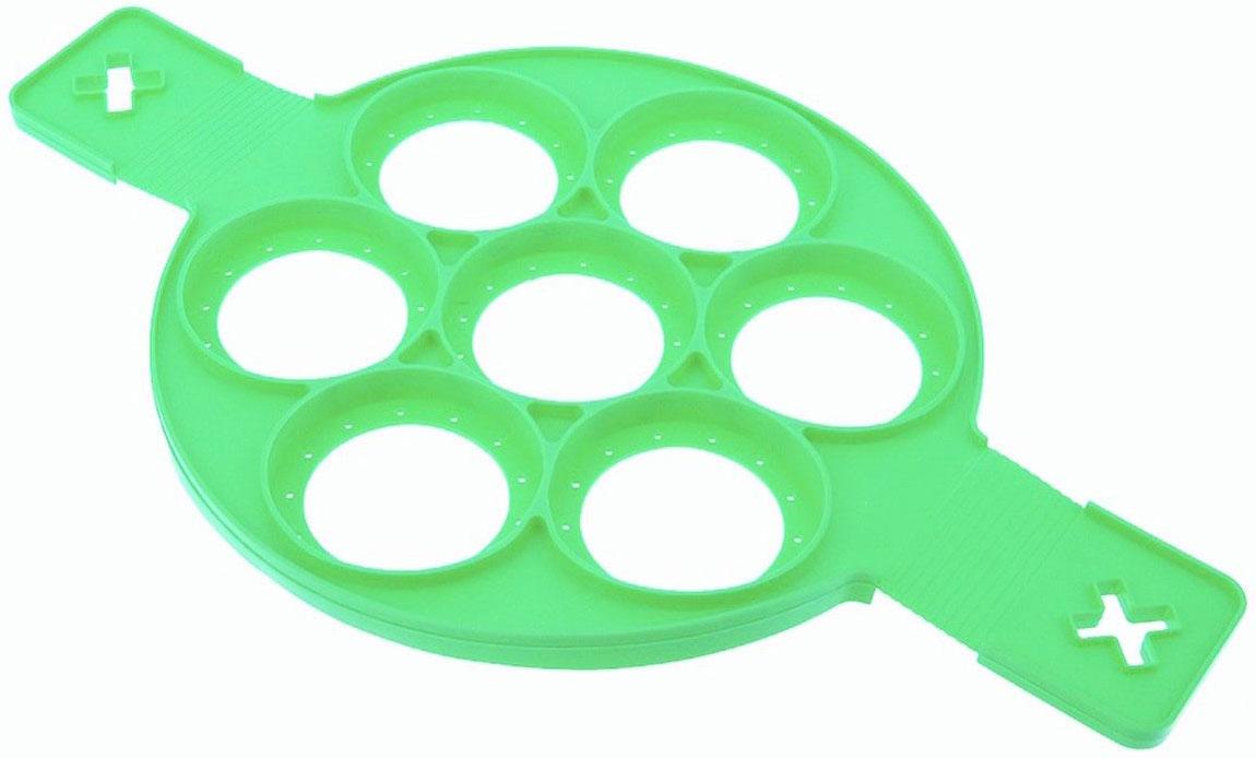 Вы можете приготовить одновременно 7 идеально круглых оладьев, омлетов, дерунов, сырников! Да, с формой «АППЕТИТО» вы это можете. Очень удобно для любителей совершенства, даже для тех кто готовит в первый раз в жизни. В форме «АППЕТИТО» прекрасно все: и число удачи 7, и круглость оладьев и возможность одним движением перевернуть сразу все семь блинчиков. Размеры: 39,5*23*1,5 см.; Вес: 150 г.; Материал: силикон; Комплектация: форма - 1 шт. ВАЖНО: ПОДХОДИТ СТРОГО ДЛЯ СКОВОРОДОК С ПЛОСКИМ ДНОМ ДИАМЕТРОМ ОТ 24 СМ.