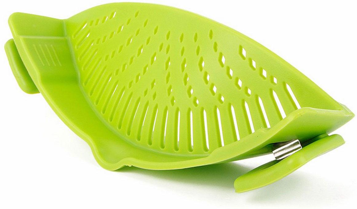 Дуршлаг насадка Ruges Ситоклип, цвет: зеленый, 22,5 х 8 х 6 смK-53Ситоклип - дуршлаг, который надевается на бортик вашей посуды. Изделие выполнено из металла и силикона.Дуршлаг крепится на посуде при помощи встроенных прищепок.Подходит для кастрюль, сотейников и сковородок разных размеров с плоским бортом.Занимает мало место для хранения. Подходит для обработки горячих и холодных продуктов.На стационарной кухне Ситоклип удобен, а на даче и в туристическом походе он сразу лидирует среди кухонных приспособлений.Размеры: 22,5 х 8 х 6 см. Вес: 142 г.