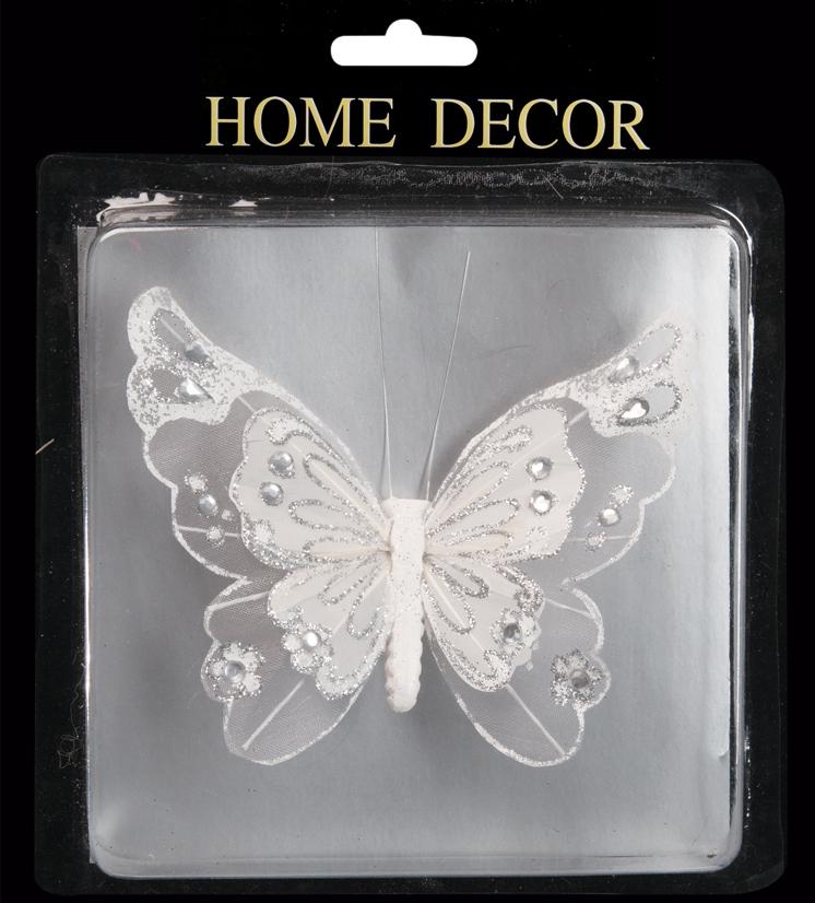 Украшение для интерьера новогоднее Erich Krause Бабочка с двойными крыльями, на клипе, 10 х 13 см36732Белая бабочка, изготовленная из воздушного текстиля, станет необычным украшением и придаст легкий акцент нежности празднику или свадебному торжеству. Отличается огромным размахом двойных крыльев, декорированных прозрачными кристаллами. Новогодние украшения всегда несут в себе волшебство и красоту праздника. Создайте в своем доме атмосферу тепла, веселья и радости, украшая его всей семьей.