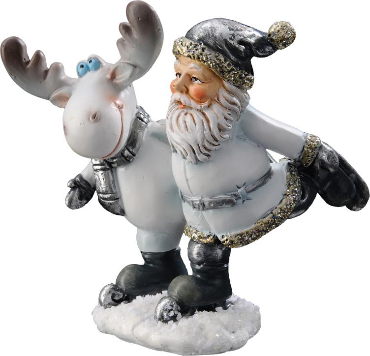 Сувенир новогодний Erich Krause Санта и олень, высота 8,5 см сувенир новогодний erich krause бультерьер коричневый 15 5 см