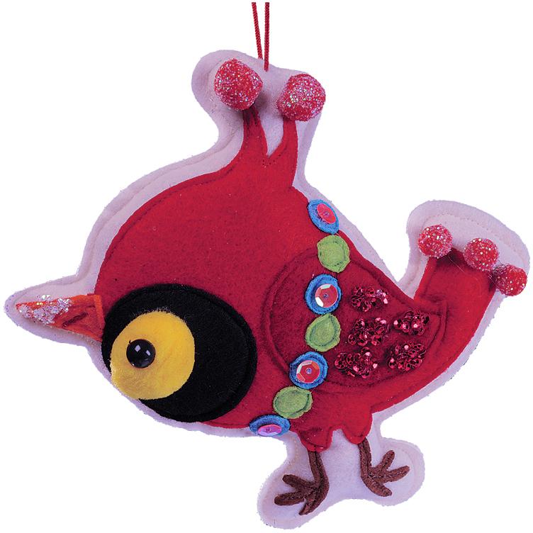 Украшение для интерьера новогоднее Erich Krause Птичка красная, 13 см34441Яркая птичка, выполненная из текстиля, подходит для декорирования детской комнаты. Мягкое и абсолютно безопасное, украшение добавит праздничной яркости. Упаковка - полибэг.
