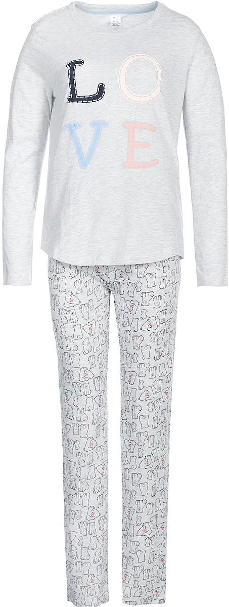 Пижама женская Sela, цвет: серый. PYb-162/066-7423. Размер XS (42)PYb-162/066-7423