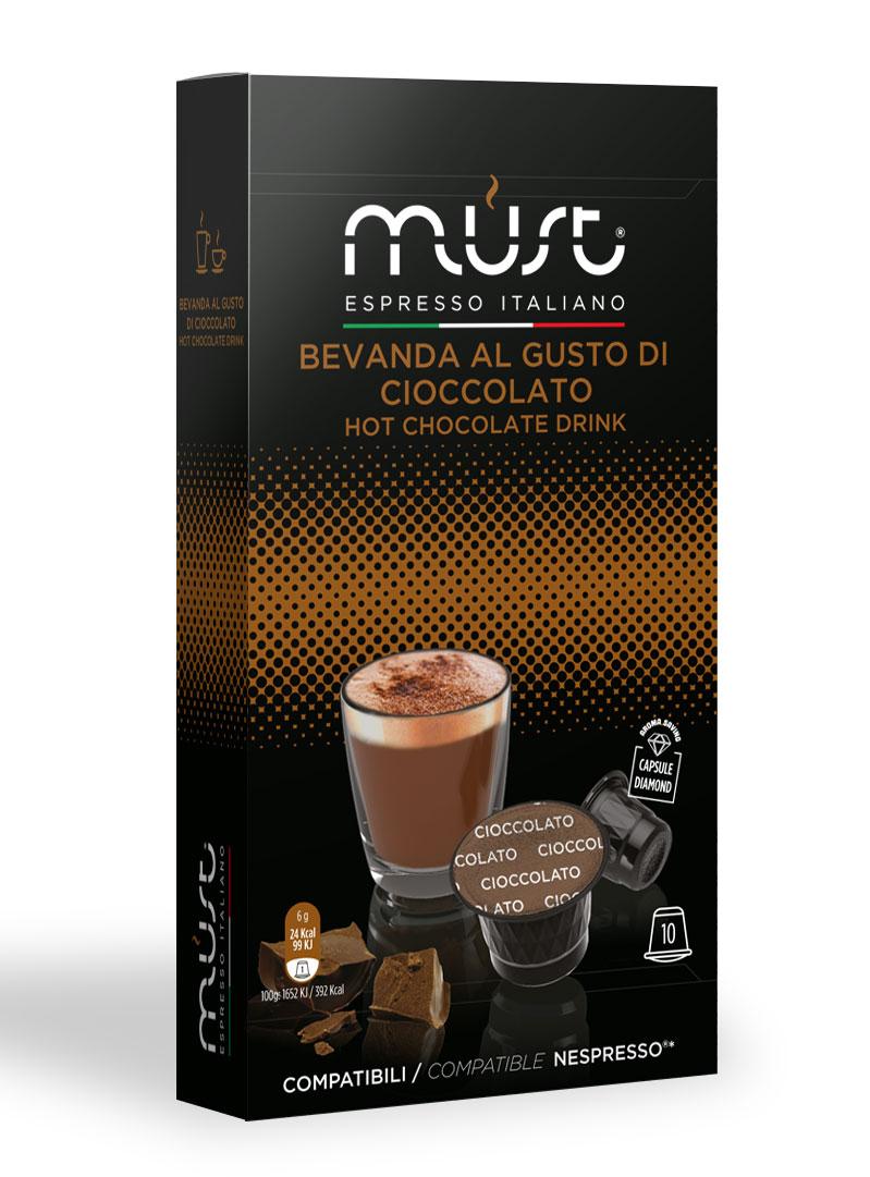 MUST Cioccolato какао капсульный, 10 шт8056370761104MUST Cioccolato — капсулы восхитительного какао-напитка, который оценит по достоинству даже самый заядлый кофеман. Какао-напиток Cioccolato отличается неповторимым шоколадным вкусом и изумительным кофейным ароматом. Он обладает невероятным тонизирующим эффектом, поэтому он станет прекрасным дополнением к утреннему завтраку. Добавьте в какао воздушный зефир и получите нежный, утонченный десерт.Уважаемые клиенты! Обращаем ваше внимание на то, что упаковка может иметь несколько видов дизайна. Поставка осуществляется в зависимости от наличия на складе.