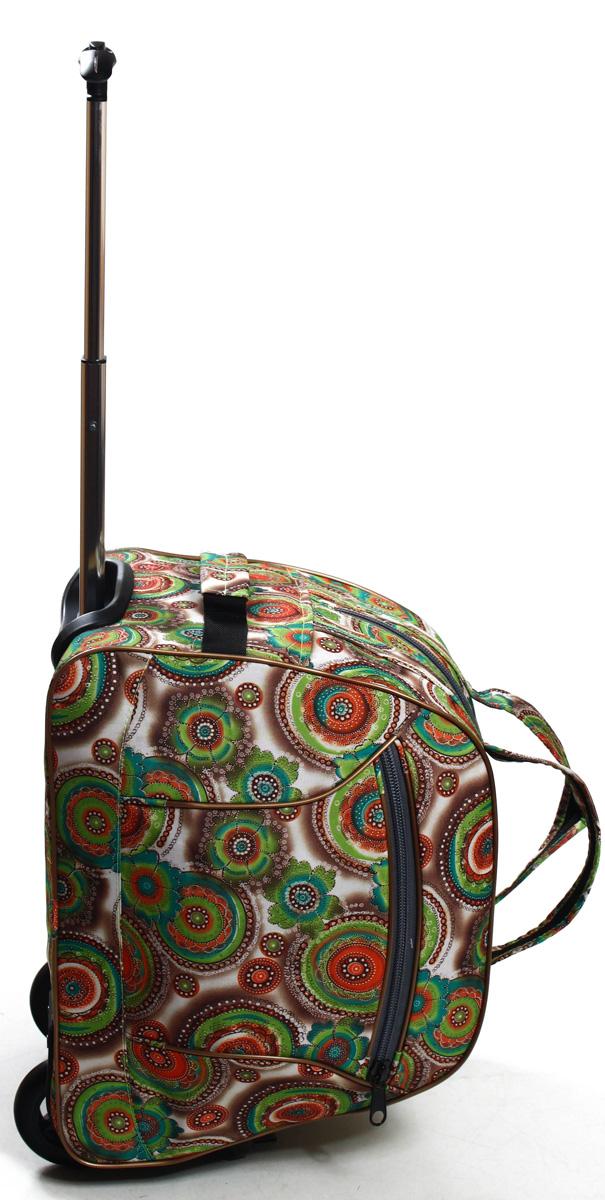 Сумка дорожная Ibag Цветные огурцы, на колесах, цвет: зеленый, 40 л