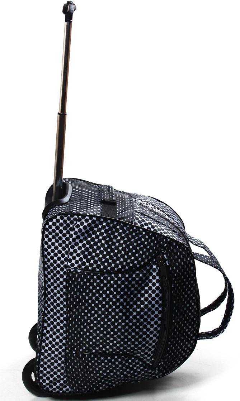Сумка дорожная Ibag Черно-белые кружки, на колесах, цвет: черный, 40 л