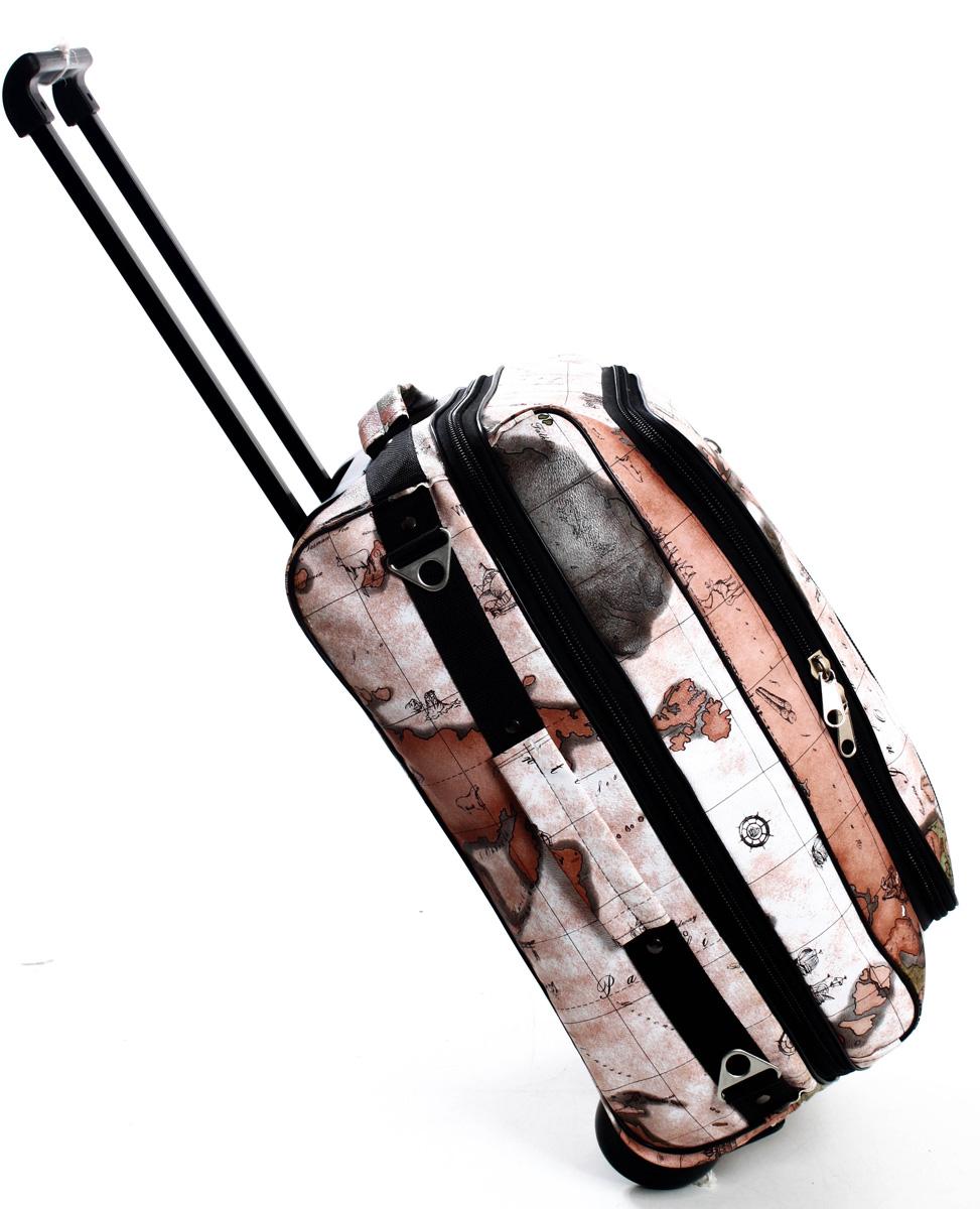 Сумка дорожная Ibag Карта, на колесах, цвет: темно-серый, 31,5 л