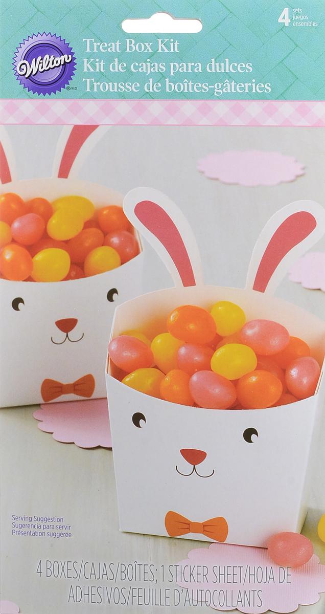 """Набор картонных коробочек для сладостей/поп-корна """"Зайка"""" Набор Wilton """"Зайка"""" состоит из четырех картонных коробочек в которых можно разместить сладости или поп-корн.  Коробочка легко собирается и транспортируется. Оформите и преподнесите ваш вкусный подарок в такой симпатичной коробочке. Размер коробочки: 6 см х 7 см х 4 см."""