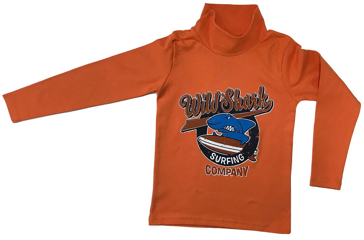 Водолазка для мальчика Arge Fashion, цвет: оранжевый. MRM-15B-42 7003-3. Размер 128MRM-15B-42 7003-3Водолазка для мальчика Arge Fashion выполнена из 100% хлопка. Модель с воротником-гольф и длинными рукавами на груди оформлена ярким принтом.
