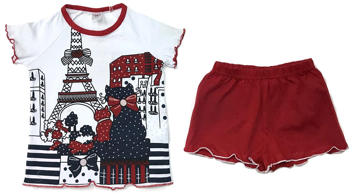 Пижама для девочки Arge Fashion, цвет: белый, красный. УЗТ-ПЖД-003-10. Размер 110УЗТ-ПЖД-003-10Пижама для девочки Arge Fashion, состоящая из футболки и шорт, выполнена из натурального хлопка. Материал необычайно мягкий и приятный на ощупь, не сковывает движения и позволяет коже дышать. Футболка с круглым вырезом горловины и короткими рукавами спереди оформлена принтовым рисунком. Шорты на талии дополнены эластичной резинкой. В такой пижаме ваша девочка будет чувствовать себя комфортно и уютно.