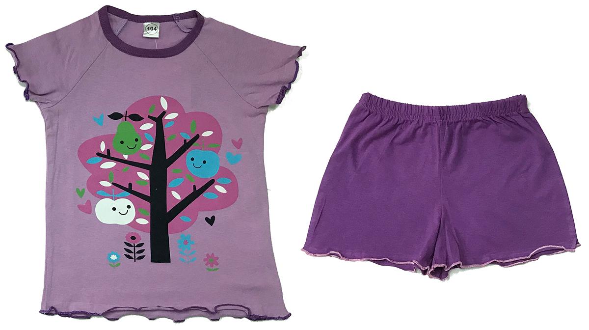 Пижама для девочки Arge Fashion, цвет: лиловый. УЗТ-ПЖД-003-8. Размер 104УЗТ-ПЖД-003-8