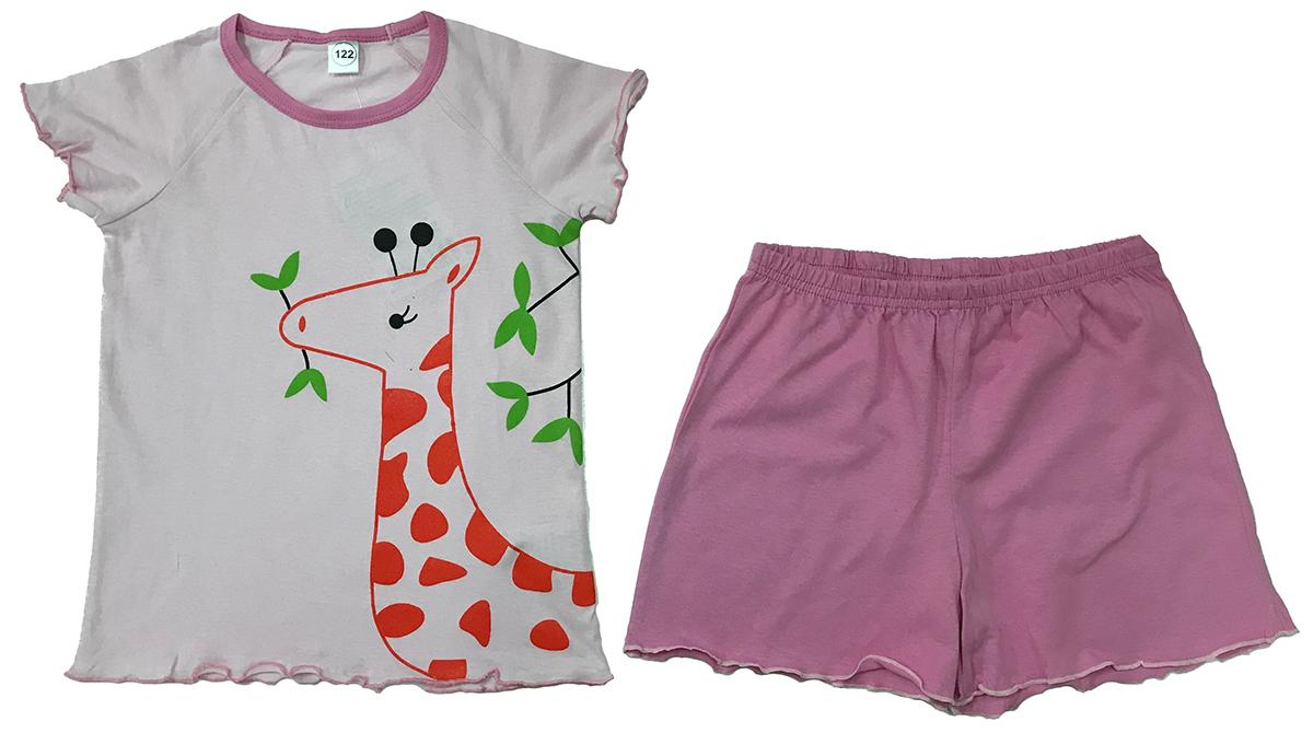 Пижама для девочки Arge Fashion, цвет: светло-розовый. УЗТ-ПЖД-003-6. Размер 104УЗТ-ПЖД-003-6Пижама для девочки Arge Fashion, состоящая из футболки и шорт, выполнена из натурального хлопка. Материал необычайно мягкий и приятный на ощупь, не сковывает движения и позволяет коже дышать. Футболка с круглым вырезом горловины и короткими рукавами спереди оформлена принтовым рисунком. Шорты на талии дополнены эластичной резинкой. В такой пижаме ваша девочка будет чувствовать себя комфортно и уютно.