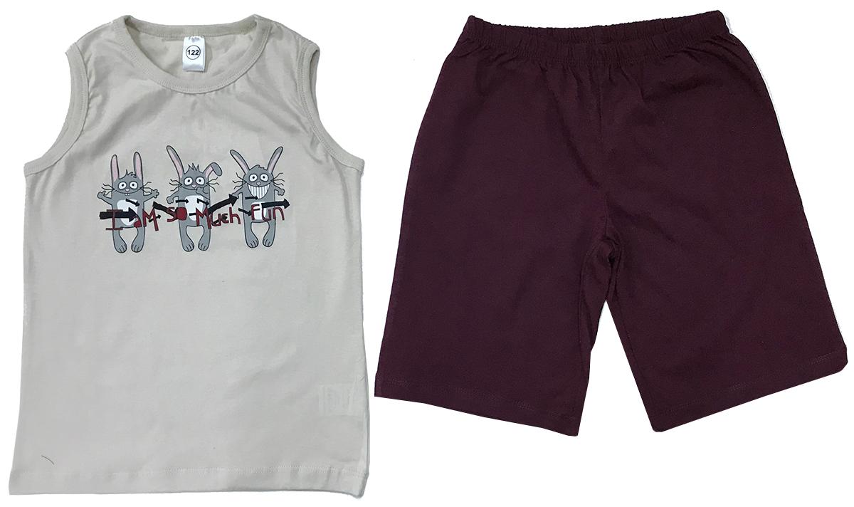 Пижама для мальчика Arge Fashion, цвет: молочный, бордовый. УЗТ-ПЖМ-003-3. Размер 98УЗТ-ПЖМ-003-3Пижама для мальчика Arge Fashion, состоящая из майки и шорт, выполнена из натурального хлопка. Материал необычайно мягкий и приятный на ощупь, не сковывает движения и позволяет коже дышать. Майка с круглым вырезом горловины спереди оформлена принтовым рисунком. Шорты на талии дополнены эластичной резинкой. В такой пижаме ваш непоседа будет чувствовать себя комфортно и уютно.