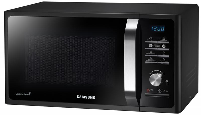 Samsung MS-23F302TAS, Steel СВЧ-печьMS23F302TAS/BWМикроволновая печь Samsung MS23F302TAS позволит заменить процесс разогрева готовых к употреблению блюдна нормальную здоровую пищу домашнего приготовления. Благодаря 20 запрограммированным режимам, высможете приготовить любое блюдо из свежих продуктов за считанные минуты.Тройная система равномерного распределения микроволн (Triple Distribution System) использует три специальныхотверстия для выхода микроволн, благодаря чему обеспечивается равномерное распределение тепла во времяприготовления блюда.Микроволновая печь MS23F302TAS со стильным дизайном, лицевой панелью из черного стекла, красивымдисплеем синего свечения и серебристым переключателем станет украшением вашей кухни.Выберите любой из запрограммированных в микроволновой печи Samsung MS23F302TAS рецептов и приготовьтеаппетитное блюдо нажатием одной кнопки.Стенки рабочей камеры микроволновой печи Samsung имеют БИОкерамическое покрытие, благодаря которомуони легко поддаются чистке и не подвержены образованию царапин. Долговечное БИОкерамическое покрытиеобладает антибактериальными свойствами и высокой механической устойчивостью к царапинам.Экономный режим ECO Mode микроволновой печи Samsung MS23F302TAS обеспечивает минимальноеэнергопотребление в режиме ожидания, что существенно уменьшит ваши счета за электроэнергию.