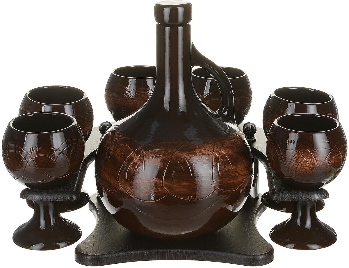 Набор для напитков Борисовская керамика Княжеский, цвет: коричневый, 8 предметов2936619-красныйНабор Борисовская керамика Стандарт, состоит из графина и 6 бокалов на деревянной подставке. Предметы набора изготовлены из керамики и декорированы абстрактным тиснением. Оригинальный дизайн, эстетичность и функциональность набора позволят ему стать достойным дополнением к кухонному инвентарю.