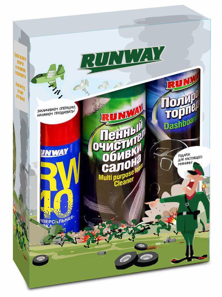 """Набор автомобильной химии """"Runway"""", 3 предмета очиститель обивки салона runway 200 мл"""