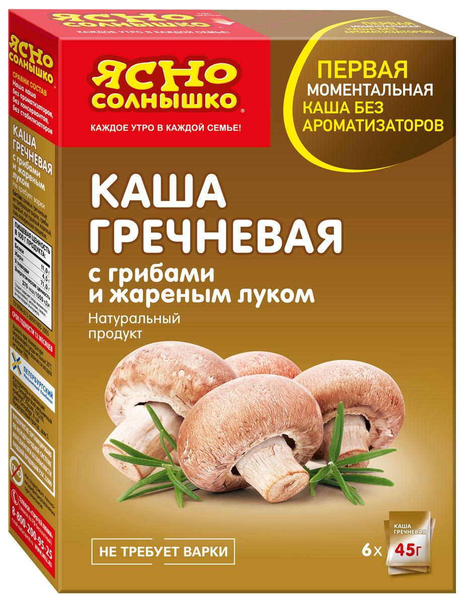 Ясно Солнышко Каша гречневая с грибами и жареным луком, 6 шт по 45 г