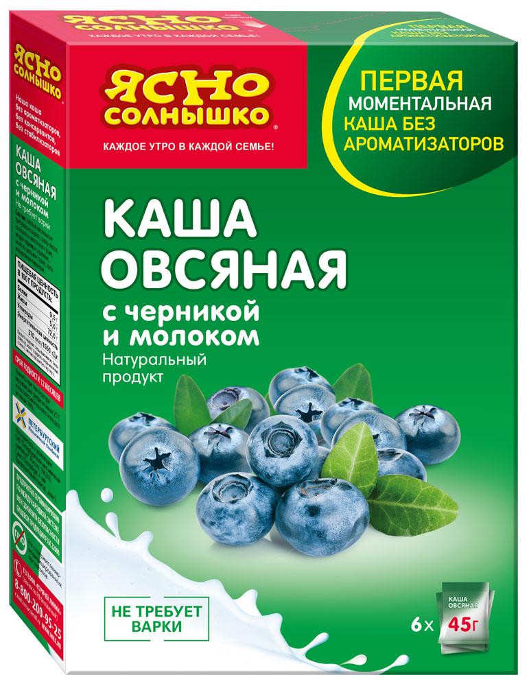 Ясно Солнышко Каша овсяная с черникой и молоком, 6 шт по 45 г