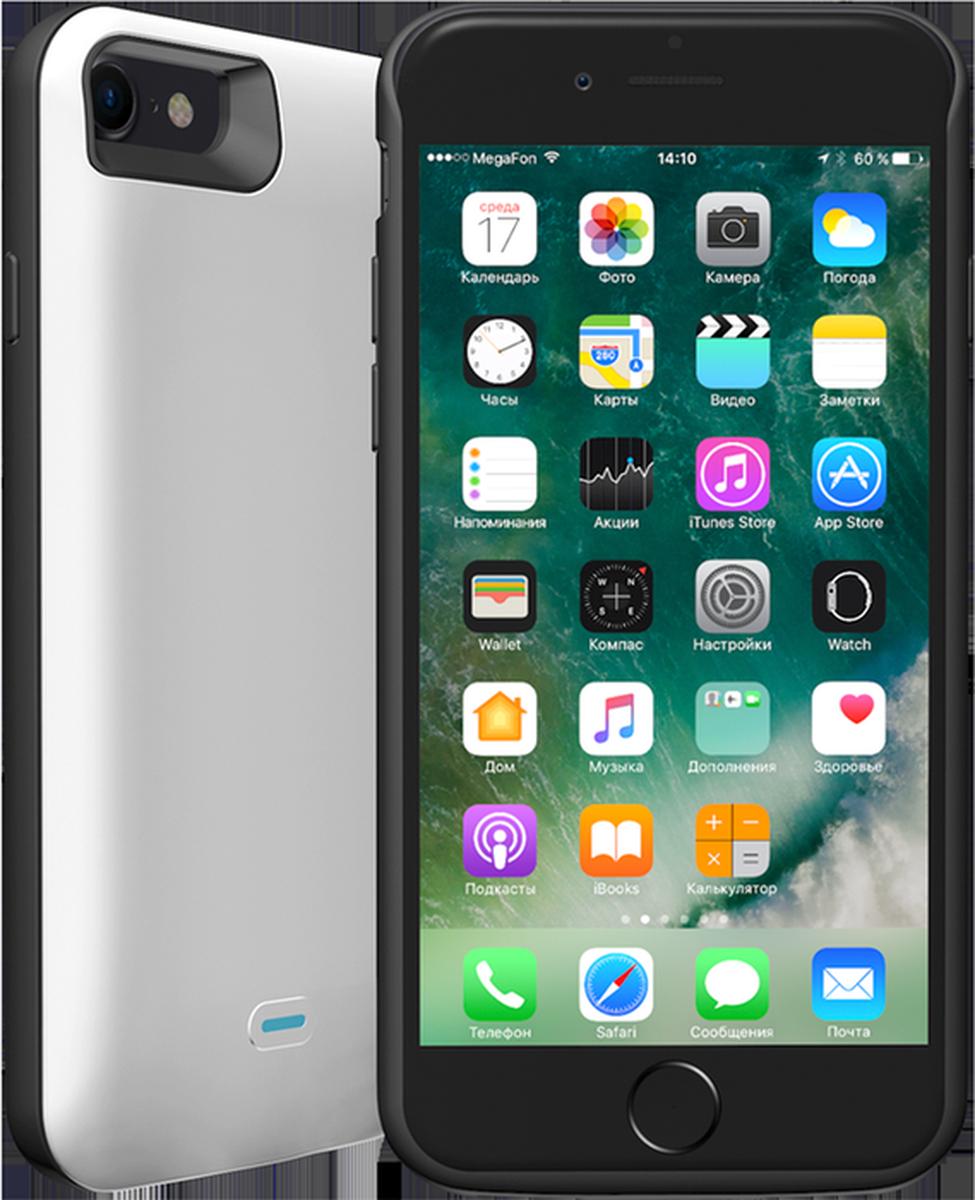 Deppa NRG Case чехол-аккумулятор для Apple iPhone 7, White (2600mAh)33520Чехол-аккумулятор Deppa NRG Case обеспечит постоянную защиту и дополнительное питание вашего смартфона. Прочный чехол дополнительно усилен TPU-бампером для защиты от ударов и падений. Встроенная защита от перезаряда, глубокого разряда, короткого замыкания.Используя стандартный дата-кабель Lightning, вы мотете как заряжать, так и синхронизировать ваш смартфон с iTunes, не снимая чехол. Уникальная особенность чехла - он заряжается одновременно с телефоном.Чехол имеет цельную конструкцию, вам не придется его разбирать, чтобы извлечь смартфон. У NRG Case отсутствуют выступающие части, нарушающие внешний вид устройства, он плотно облегает смартфон и удобно лежит в руке.Металлическая пластина уже встроена в корпус чехла, поэтому вы можете использовать его для установки на магнитные держатели Deppa.