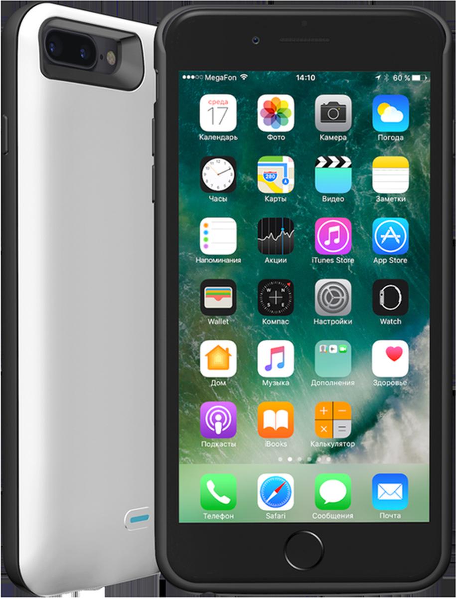 Deppa NRG Case чехол-аккумулятор для Apple iPhone 7 Plus, White (3800mAh)33522Чехол-аккумулятор Deppa NRG Case обеспечит постоянную защиту и дополнительное питание вашего смартфона. Прочный чехол дополнительно усилен TPU-бампером для защиты от ударов и падений. Встроенная защита от перезаряда, глубокого разряда, короткого замыкания.Используя стандартный дата-кабель Lightning, вы мотете как заряжать, так и синхронизировать ваш смартфон с iTunes, не снимая чехол. Уникальная особенность чехла - он заряжается одновременно с телефоном.Чехол имеет цельную конструкцию, вам не придется его разбирать, чтобы извлечь смартфон. У NRG Case отсутствуют выступающие части, нарушающие внешний вид устройства, он плотно облегает смартфон и удобно лежит в руке.Металлическая пластина уже встроена в корпус чехла, поэтому вы можете использовать его для установки на магнитные держатели Deppa.