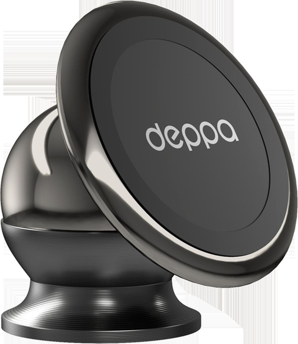Deppa Mage Steel, Black автомобильный держатель для смартфонов55150Deppa Mage Steel обеспечивает надежное крепление смартфона на приборную панель автомобиля. Угол наклона можно настраивать. Клейкая 3М основа надежно крепится практически к любой поверхности.
