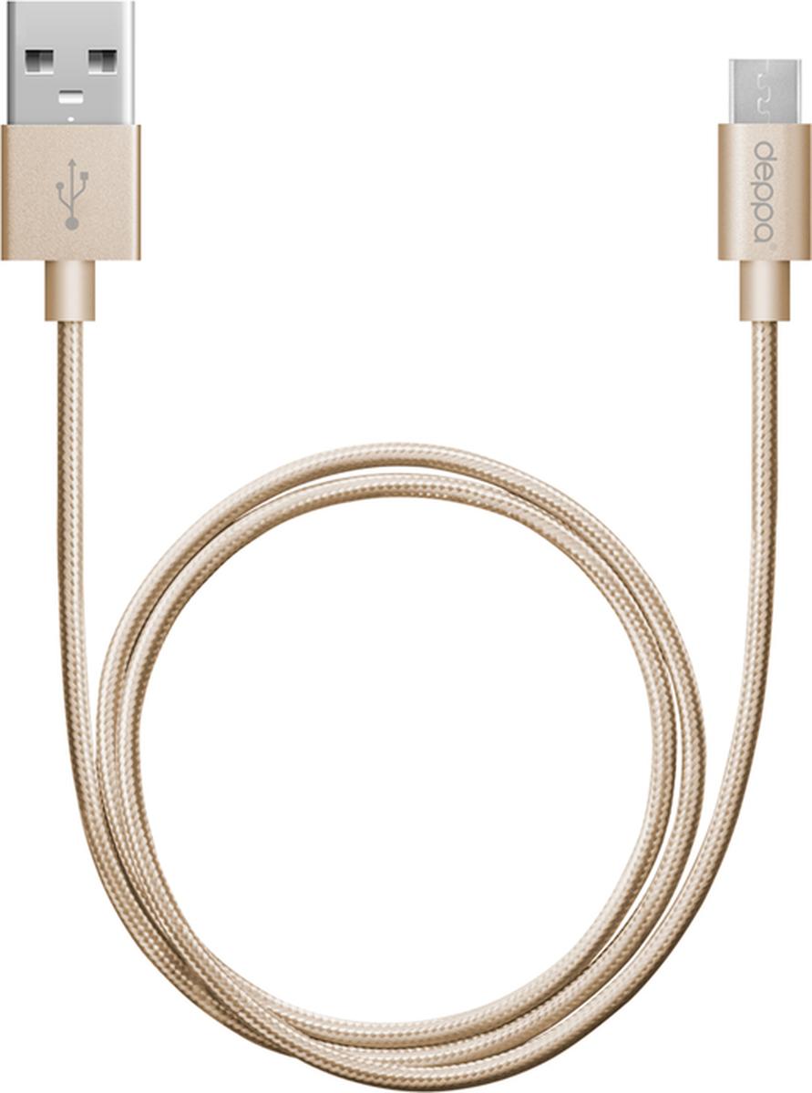 Deppa Alum дата-кабель USB-micro USB, Gold (1,2 м)