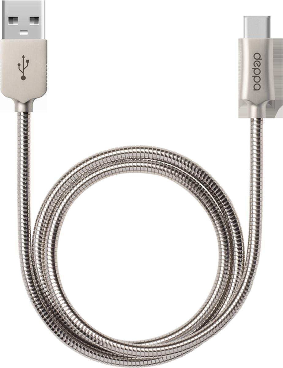 Deppa Steel дата-кабель USB Type-C, Silver Gray (1,2 м)72274Кабель Deppa Steel предназначен для передачи данных между персональными компьютерами и смартфонами, планшетными компьютерами и другими цифровыми устройствами с разъемом USB Type-C. Кроме того, его можно подключить к адаптеру питания USB, чтобы зарядить устройство от розетки.Ток нагрузки: 2.4 А