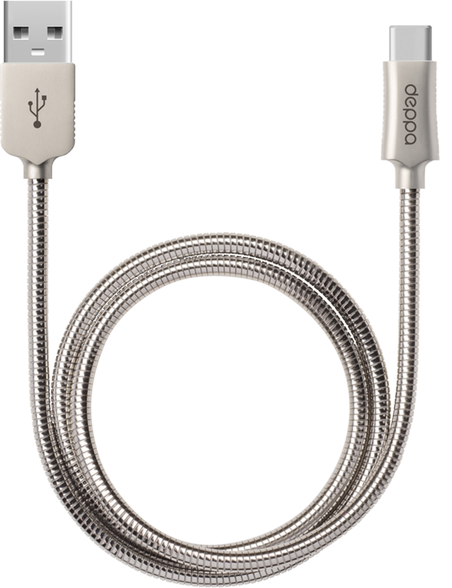 Deppa Steel дата-кабель USB Type-C, Silver Gray (1,2 м)