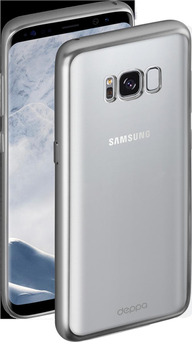 Deppa Gel Plus чехол для Samsung Galaxy S8, Silver85306Чехол Deppa Gel Plus предназначен для защиты корпуса Samsung Galaxy S8 от механических повреждений и царапин в процессе эксплуатации. Стильная рамка с матовым покрытием придает кейсу Gel Plus особую строгость, и в то же время удачно подчеркивает контуры устройства.Плотный высокотехнологичный TPU (силикон) производства Bayer в разы повышает защитные функции чехла. Кейс эластичен, устойчив к изломам, не запотевает и не желтеет даже при длительной эксплуатации.Кейс надежно защищает Samsung Galaxy S8 со всех сторон и имеет все необходимые, тщательно выверенные отверстия для доступа к функциональным портам, разъемам и кнопкам смартфона. Вы можете легко зарядить устройство, не снимая чехол.