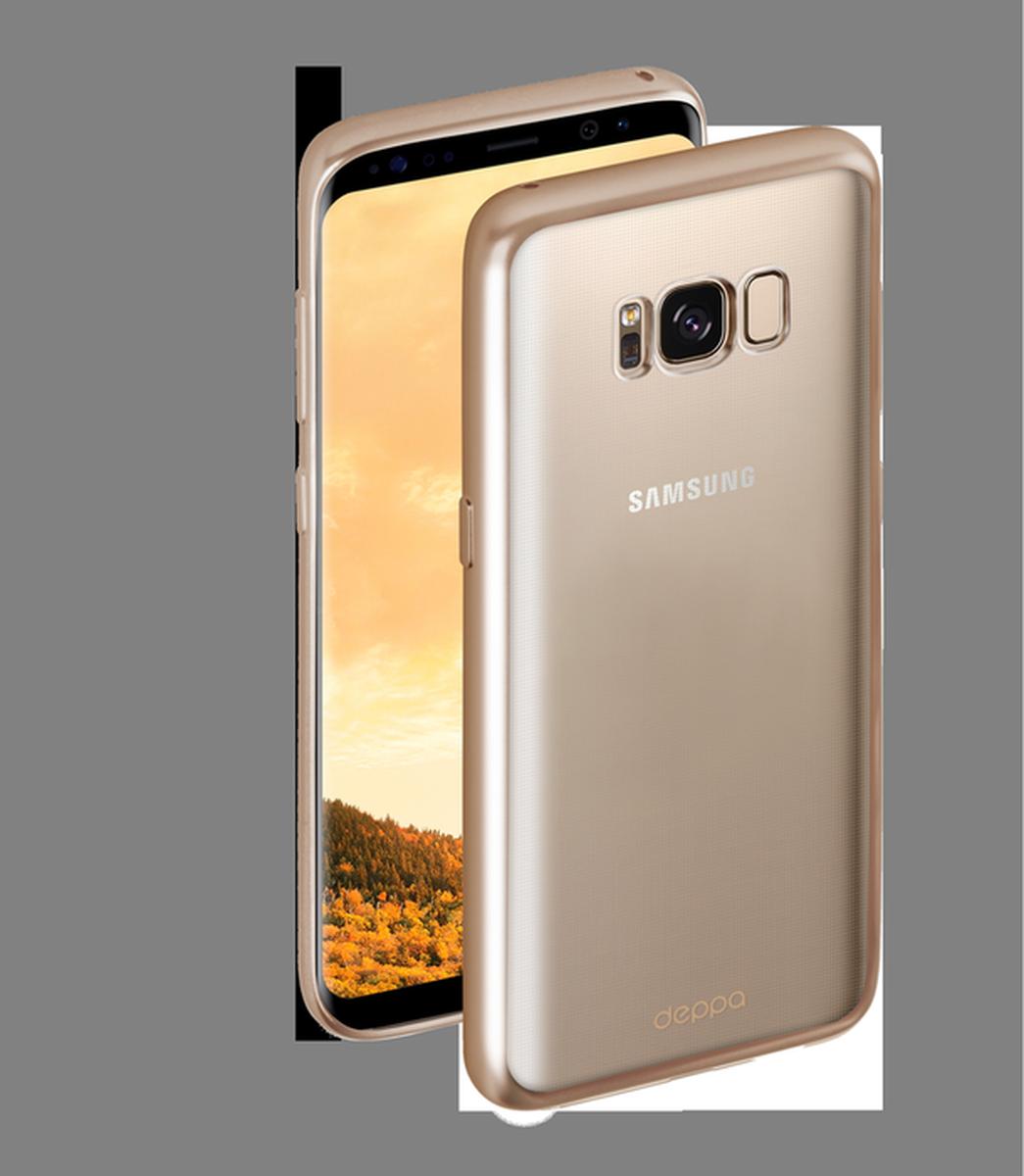 Deppa Gel Plus чехол для Samsung Galaxy S8, Gold85307Чехол Deppa Gel Plus предназначен для защиты корпуса Samsung Galaxy S8 от механических повреждений и царапин в процессе эксплуатации. Стильная рамка с матовым покрытием придает кейсу Gel Plus особую строгость, и в то же время удачно подчеркивает контуры устройства.Плотный высокотехнологичный TPU (силикон) производства Bayer в разы повышает защитные функции чехла. Кейс эластичен, устойчив к изломам, не запотевает и не желтеет даже при длительной эксплуатации.Кейс надежно защищает Samsung Galaxy S8 со всех сторон и имеет все необходимые, тщательно выверенные отверстия для доступа к функциональным портам, разъемам и кнопкам смартфона. Вы можете легко зарядить устройство, не снимая чехол.