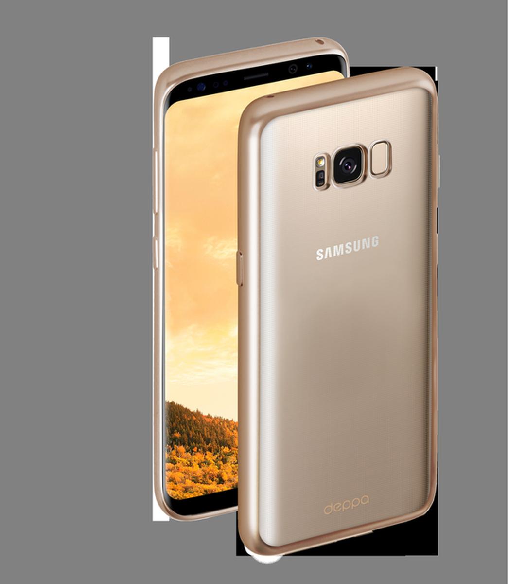 Deppa Gel Plus чехол для Samsung Galaxy S8+, Gold85310Чехол Deppa Gel Plus предназначен для защиты корпуса Samsung Galaxy S8+ от механических повреждений и царапин в процессе эксплуатации. Стильная рамка с матовым покрытием придает кейсу Gel Plus особую строгость, и в то же время удачно подчеркивает контуры устройства.Плотный высокотехнологичный TPU (силикон) производства Bayer в разы повышает защитные функции чехла. Кейс эластичен, устойчив к изломам, не запотевает и не желтеет даже при длительной эксплуатации.Кейс надежно защищает Samsung Galaxy S8+ со всех сторон и имеет все необходимые, тщательно выверенные отверстия для доступа к функциональным портам, разъемам и кнопкам смартфона. Вы можете легко зарядить устройство, не снимая чехол.
