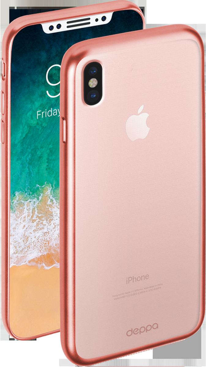 Deppa Gel Plus чехол для Apple iPhone X, Pink85338Чехол Deppa Gel Plus предназначен для защиты корпуса Apple iPhone Xот механических повреждений и царапин в процессе эксплуатации. Стильная рамка с матовым покрытием придает кейсу Gel Plus особую строгость, и в то же время удачно подчеркивает контуры устройства.Плотный высокотехнологичный TPU (силикон) производства Bayer в разы повышает защитные функции чехла. Кейс эластичен, устойчив к изломам, не запотевает и не желтеет даже при длительной эксплуатации.Кейс надежно защищает iPhone со всех сторон и имеет все необходимые, тщательно выверенные отверстия для доступа к функциональным портам, разъемам и кнопкам смартфона. Вы можете легко зарядить устройство, не снимая чехол.