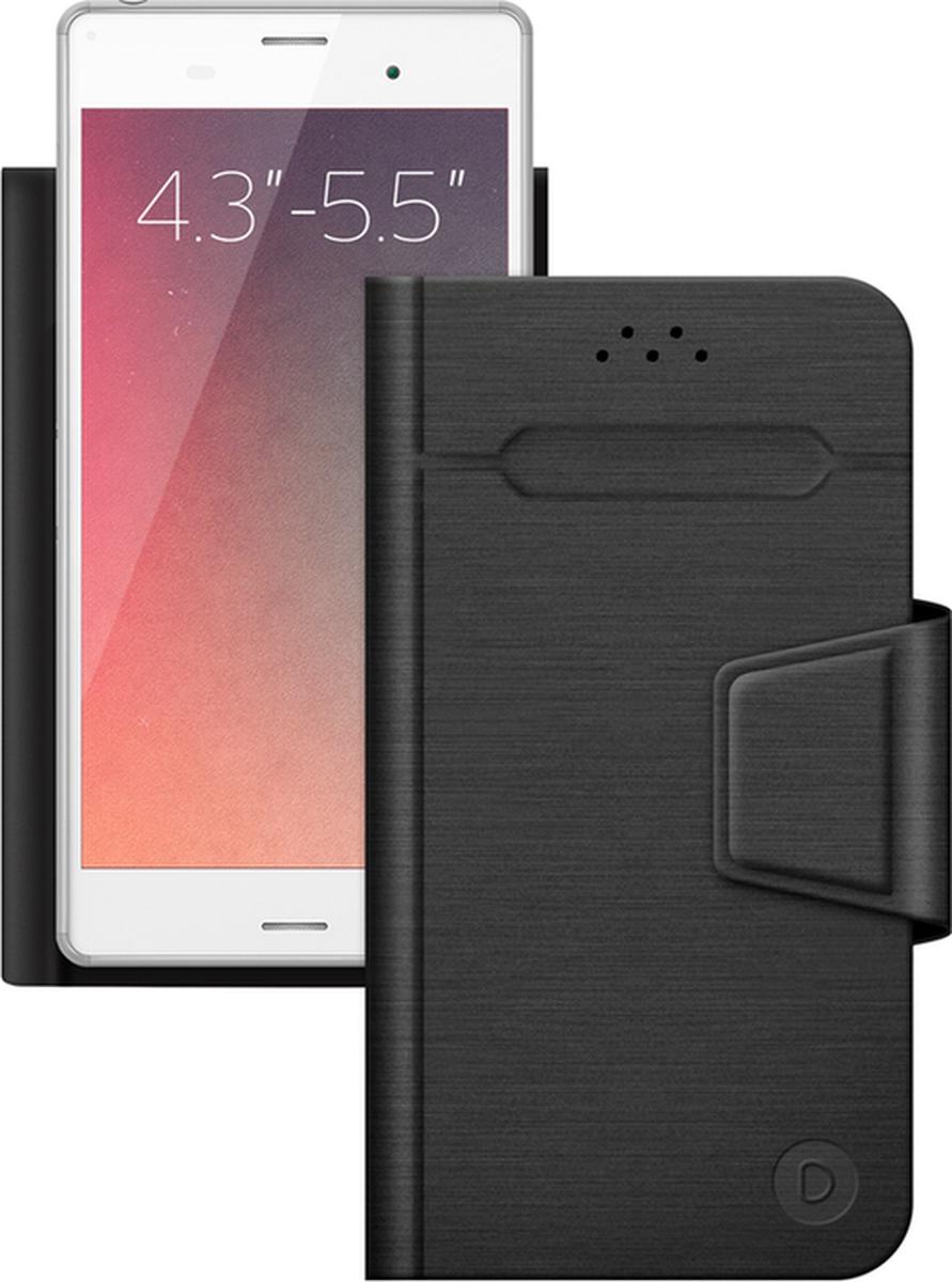 Deppa Wallet Fold универсальный чехол для смартфонов 4.3- 5.5, Black87005Универсальный чехол Deppa Wallet Fold для смартфонов с диагональю 4.3- 5.5 защитит ваше мобильное устройство от механических повреждений, пыли и грязи. Режим горизонтальной подставки обеспечивает комфортный угол обзора. Верхняя часть чехла отгибается для фотографирования. Функция подходит для смартфонов с любым расположением камер. Уникальная тонкость чехла достигается за счет особой конструкции: вместо использования громоздких механизмов устройство надежно крепится к тончайшему клейкому стикеру.Материал клейкого покрытия: 3ММаксимальный размер мобильного устройства: 150 х 72,5 х 20 мм