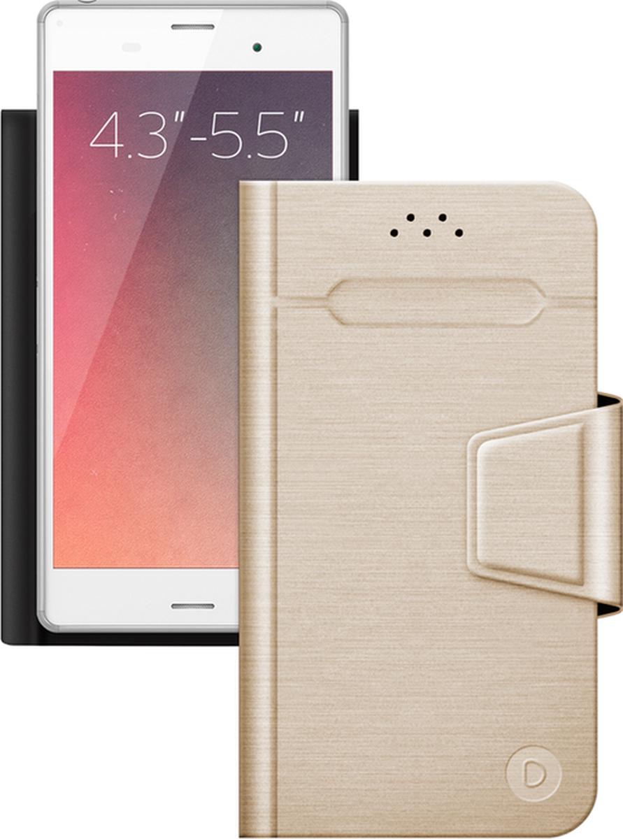 Deppa Wallet Fold универсальный чехол для смартфонов 4.3- 5.5, Gold87007Универсальный чехол Deppa Wallet Fold для смартфонов с диагональю 4.3- 5.5 защитит ваше мобильное устройство от механических повреждений, пыли и грязи. Режим горизонтальной подставки обеспечивает комфортный угол обзора. Верхняя часть чехла отгибается для фотографирования. Функция подходит для смартфонов с любым расположением камер. Уникальная тонкость чехла достигается за счет особой конструкции: вместо использования громоздких механизмов устройство надежно крепится к тончайшему клейкому стикеру.Материал клейкого покрытия: 3ММаксимальный размер мобильного устройства: 150 х 72,5 х 20 мм