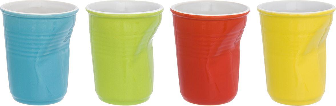 """Набор Elan Gallery """"Разноцветные"""" состоит из 4 стаканов, выполненных из высококачественной  керамики. Необычные """"мятые"""" стаканы разных цветов поднимут настроение любой компании.  Набор стаканов Elan Gallery станет также отличным подарком на любой праздник. Подходит для  горячих и холодных напитков.  Не рекомендуется применять абразивные моющие средства. Не использовать в микроволновой  печи.  Диаметр стакана (по верхнему краю): 7 см.  Высота стакана: 9 см."""