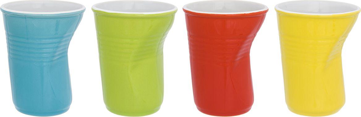 Набор стаканов Elan Gallery Разноцветные, цвет: бирюзовый, лаймовый, алый, лимонный, 320 мл, 4 шт310076Оригинальный набор из 4 мятых стаканов разных цветов, станет оригинальным подарком. А так же подойдет для вечеринок и детских праздников.